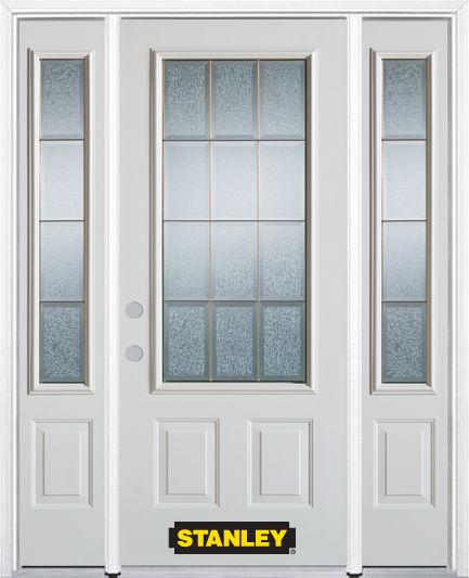 66-inch x 82-inch Diana 3/4-Lite 2-Panel White Steel Entry Door with Sidelites and Brickmould