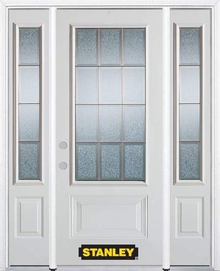 64-inch x 82-inch Diana 3/4-Lite 2-Panel White Steel Entry Door with Sidelites and Brickmould