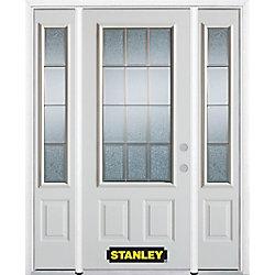 Stanley Doors Porte dentrée en acier préfini en blanc, munie de deux panneaux et dun 3/4 verre, en 68 po x 82 po avec panneaux latéraux et moulure de brique