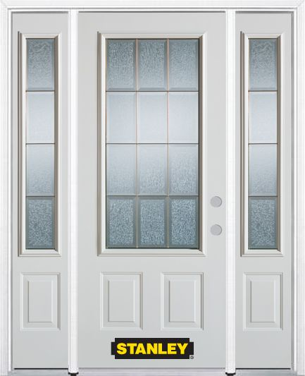 Stanley Doors 68.5 inch x 82.375 inch Diana Brass 3/4 Lite 2-Panel Prefinished White Left-Hand Inswing Steel Prehung Front Door with Sidelites and Brickmould