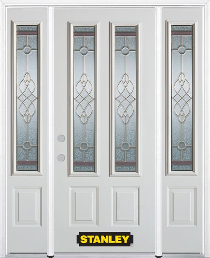 64-inch x 82-inch Milano 2-Lite 2-Panel White Steel Entry Door with Sidelites and Brickmould