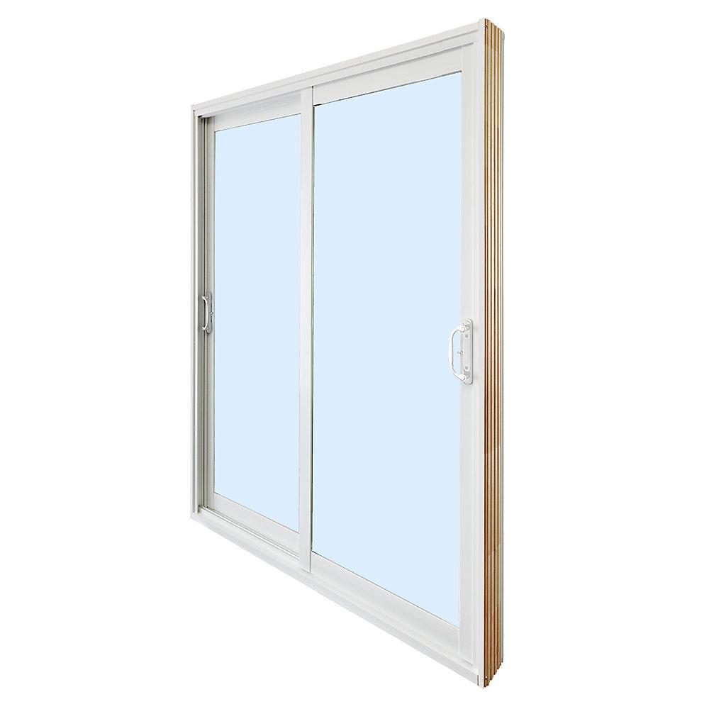 59.75 inch x 79.75 inch Clear LowE Argon Prefinished White Double Sliding Vinyl Patio Door - ENERGY STAR®