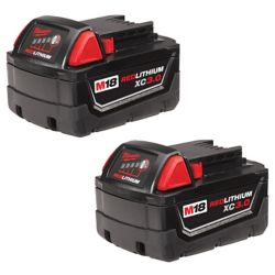 Milwaukee Tool M18 18V Lithium-Ion XC Extended Capacity 3.0 Ah Battery (2-Pack)