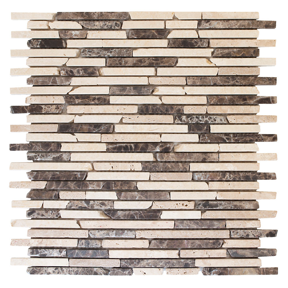 English Stone Emperador 11-inch x 12.25-inch x 8 mm Travertine and Marble Mosaic Wall Tile