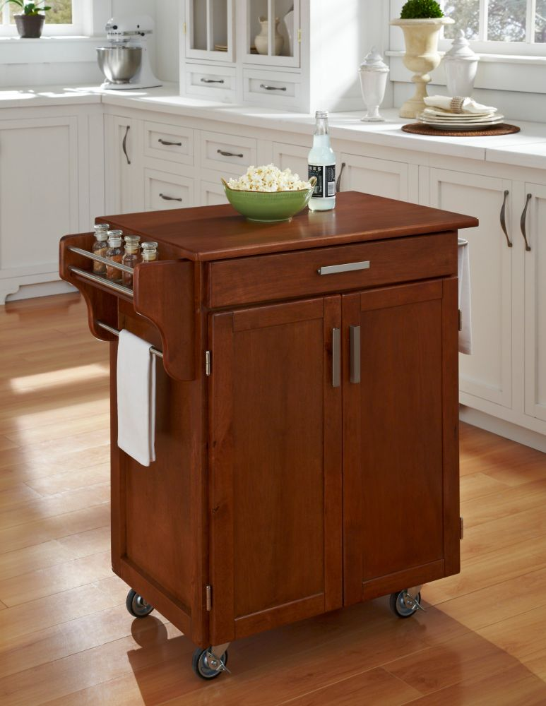 Cuisine cart warm oak finish with oak top 9001 0066g for Inexpensive kitchen islands