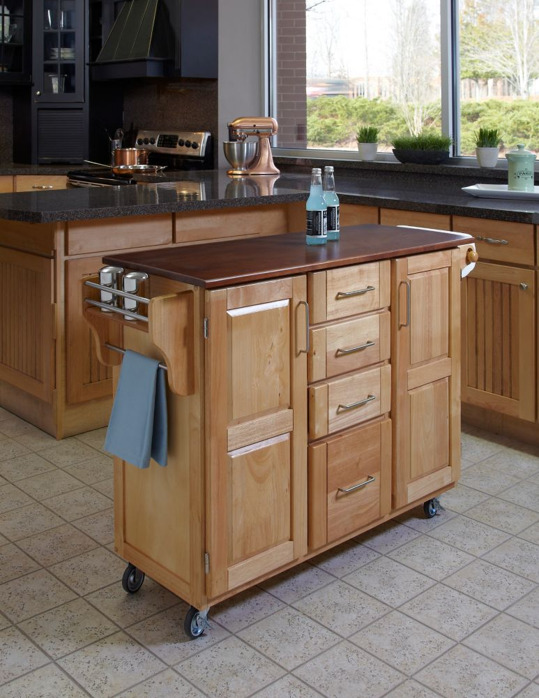 Chariot de cuisine « Create-a-Cart » finition naturelle avec plateau bois de cerisier