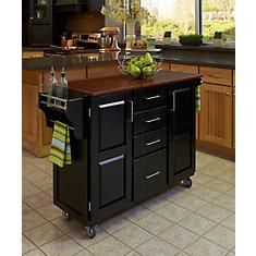 Create A Cart Black Finish With Oak Top
