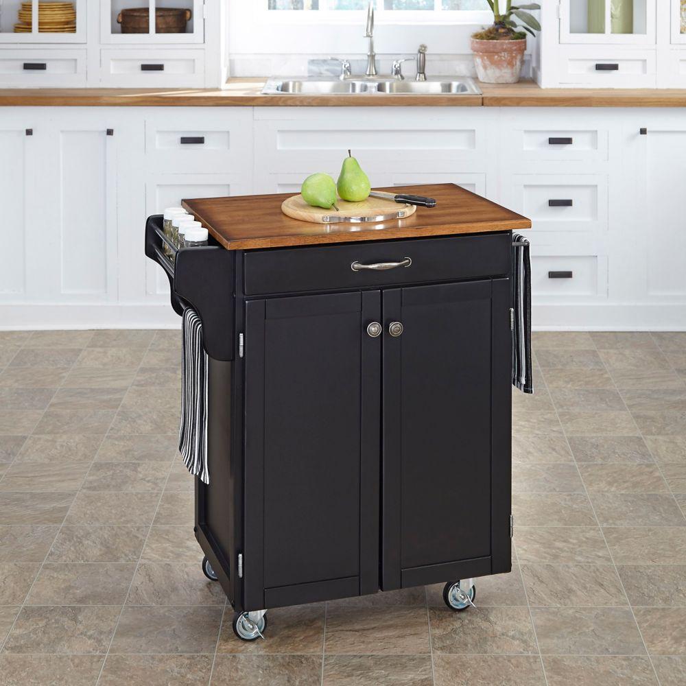 Chariot de cuisine finition noire avec plateau bois de chêne