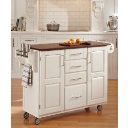 Home Styles Create-a-Cart White Finish with Oak Top