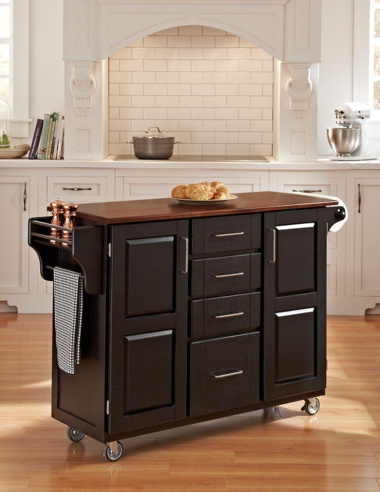 Chariot de cuisine « Create-a-Cart » finition noire avec plateau bois de cerisier