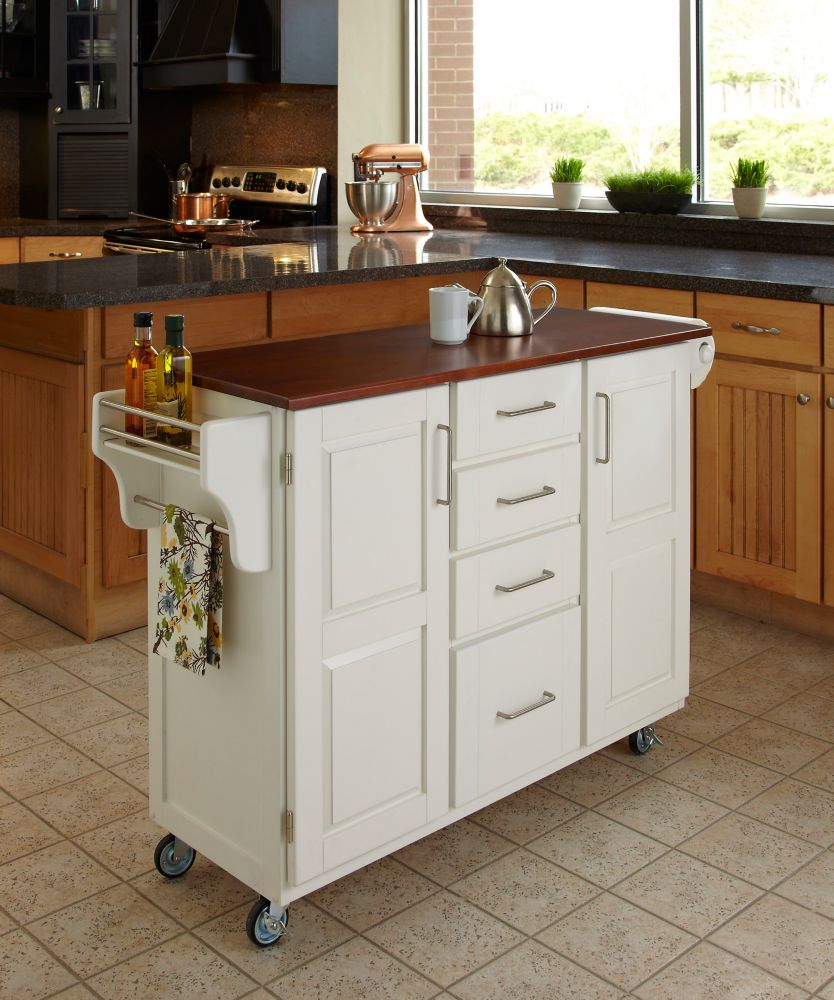 Kitchen Islands And: Home Styles Kitchen Island With Two Stools - White