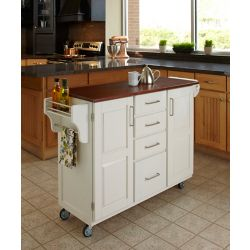 Home Styles Create-a-Cart White Finish with Cherry Top