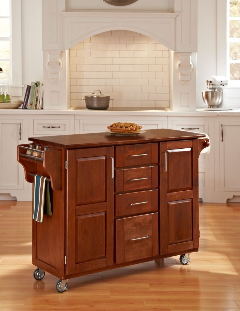 Create-a-Cart Warm Oak Finish with Cherry Top