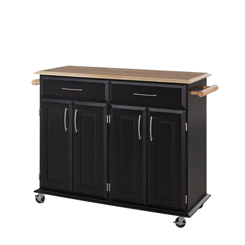 Dolly Madison Black Kitchen Cart With Storage