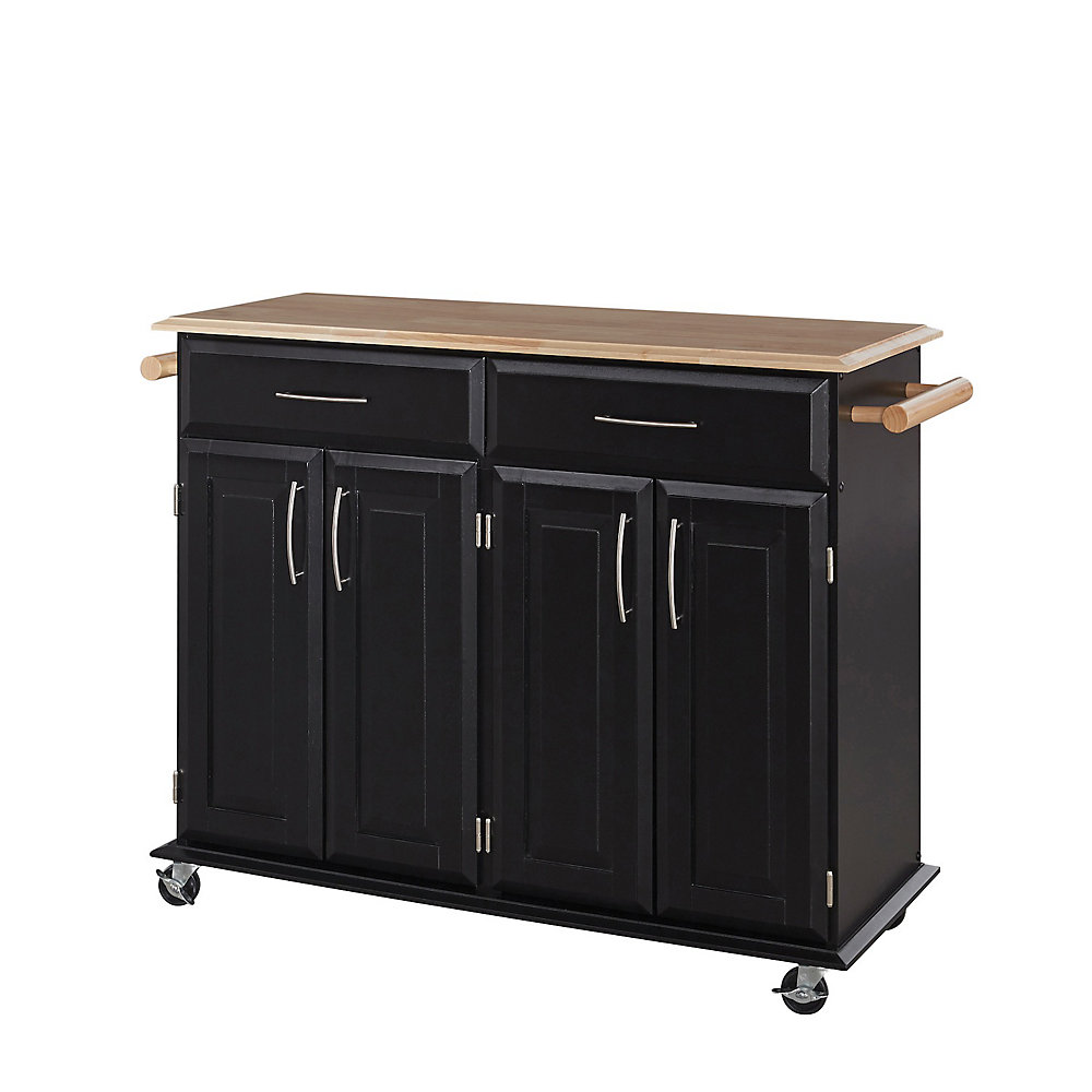 Dolly Madison Black Kitchen Cart With Storage