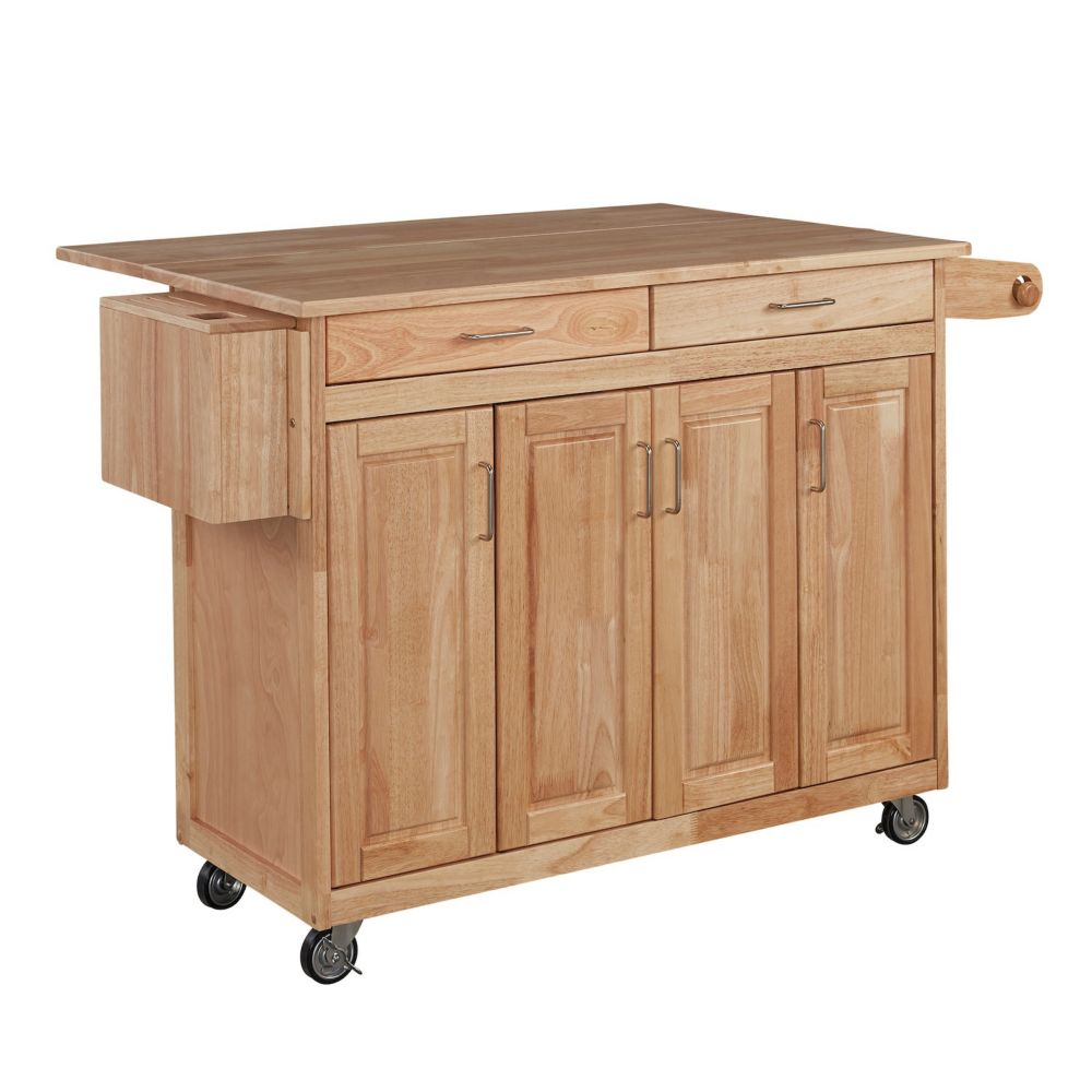 Home Styles Natural Kitchen Cart W Breakfast Bar The Home Depot Canada