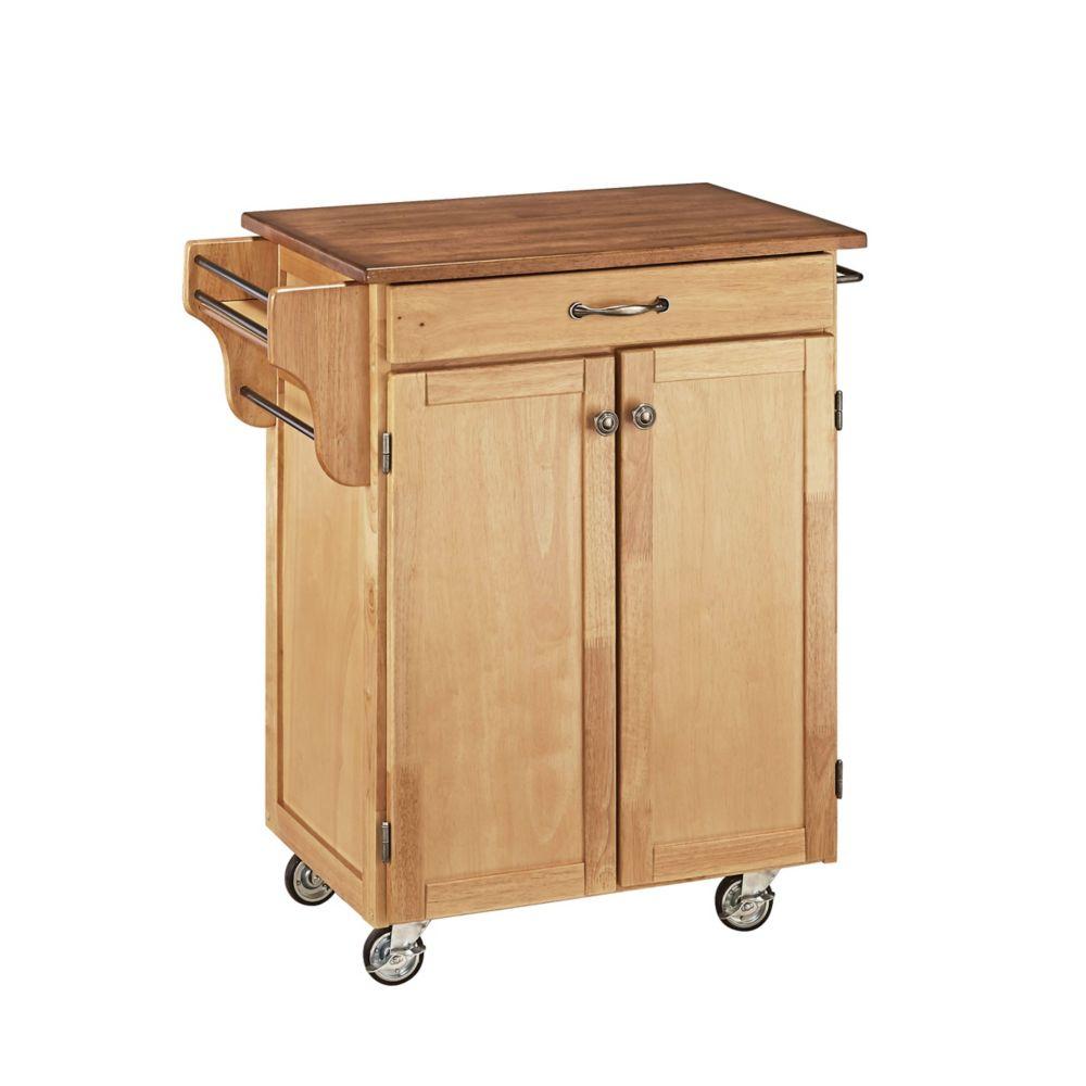 Home styles chariot de cuisine finition naturelle avec for Plateau de cuisine en bois