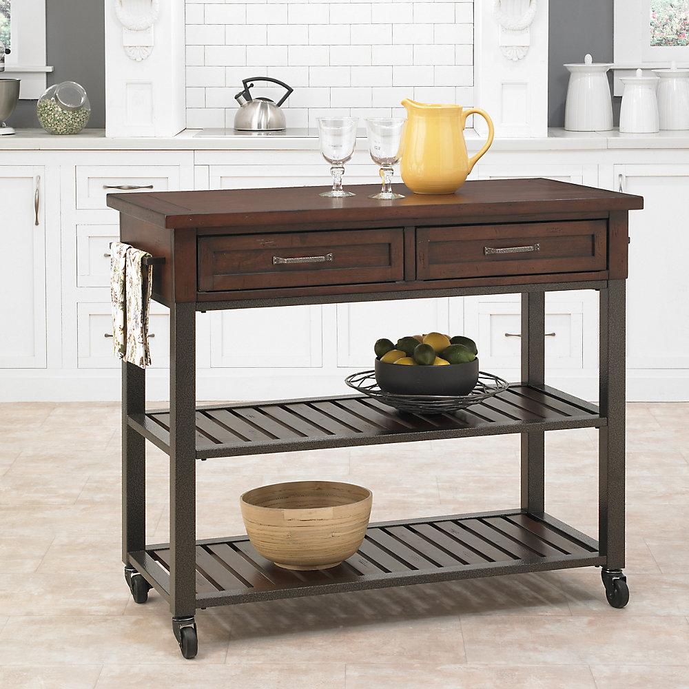 Chestnut Kitchen Cart With Storage