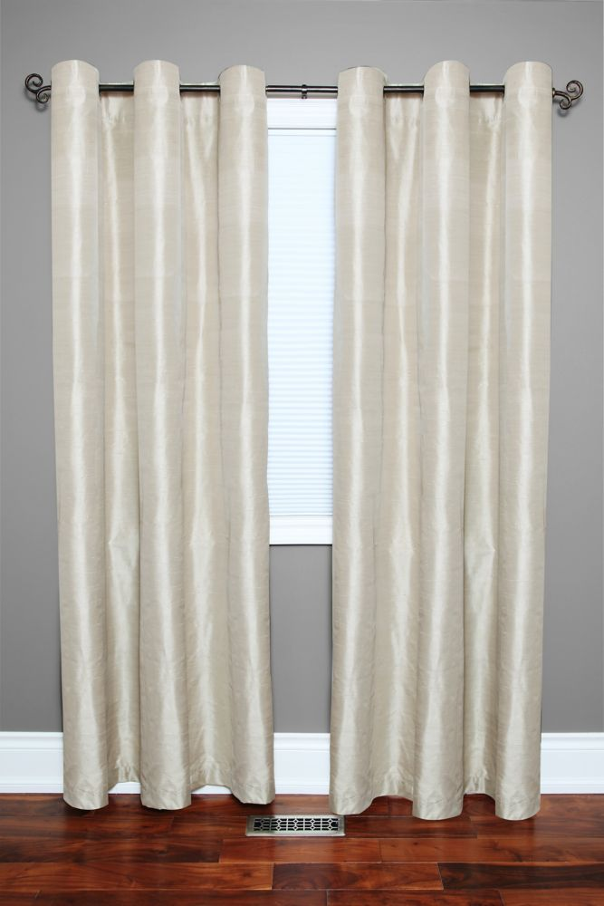 Silk Grommet  Panel - Lined - 50 Inches X 84 Inches, Beige.