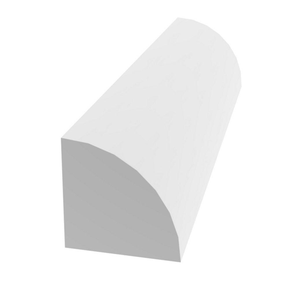 Qrt Rnd Pvc White 1/2 Inchx1/2 Inchx8 Feet