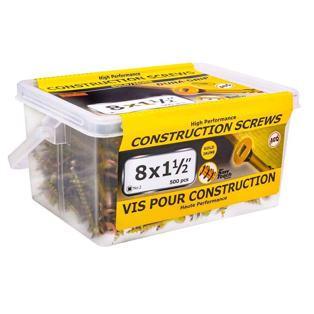 8x1-1/2 Construction Screws - 500 Pieces