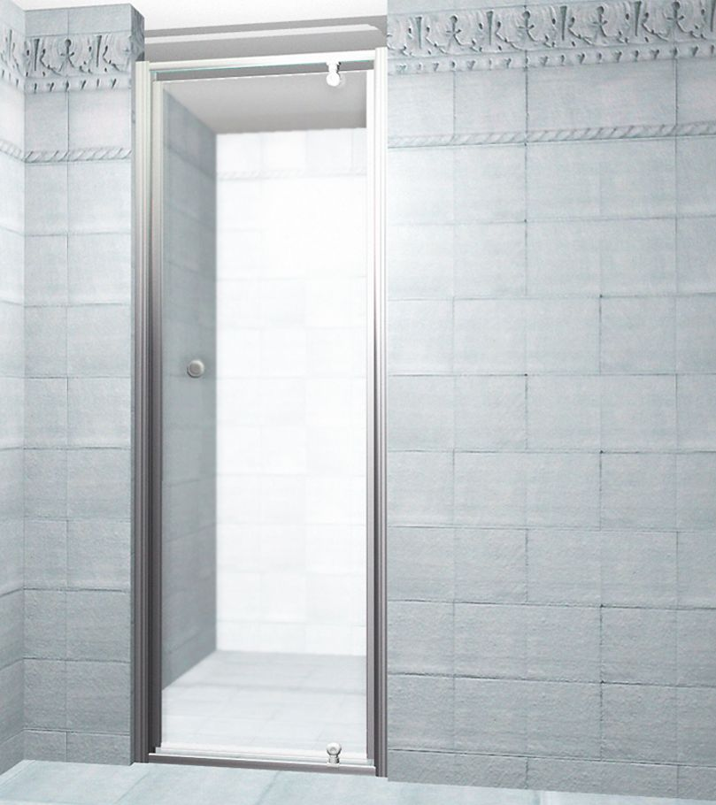 48 inch x 35 inch frameless sliding shower enclosure in stainless steel with right shower base
