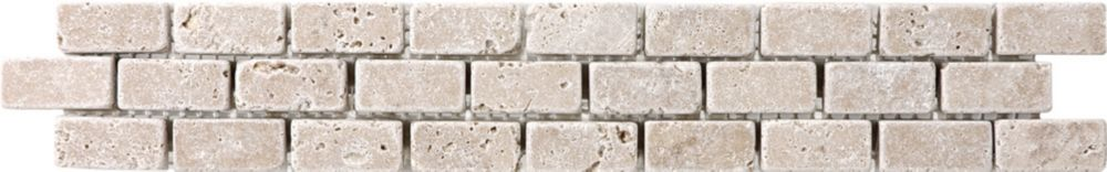 2-Inch x 12-Inch Noce Travertine Brick Listello Tile