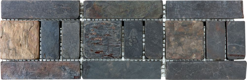 4-Inch x 12-Inch Multi Slate Listello Tile