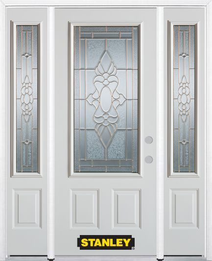 66-inch x 82-inch Victoria 3/4-Lite 2-Panel White Steel Entry Door with Sidelites and Brickmould