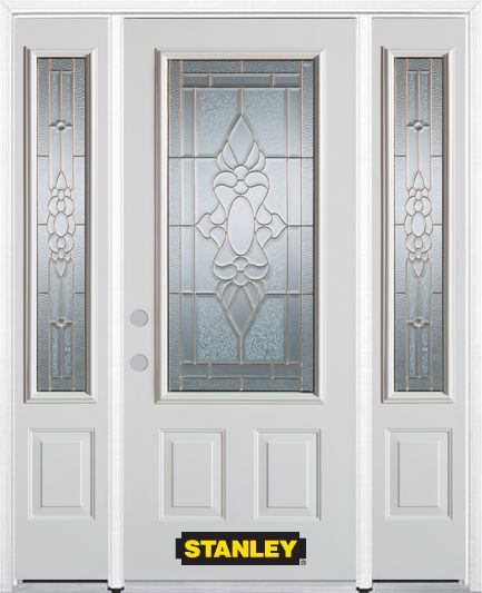64-inch x 82-inch Victoria 3/4-Lite 2-Panel White Steel Entry Door with Sidelites and Brickmould