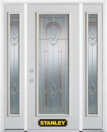 64-inch x 82-inch Marilyn Full Lite Finished White Steel Entry Door with Sidelites and Brickmould