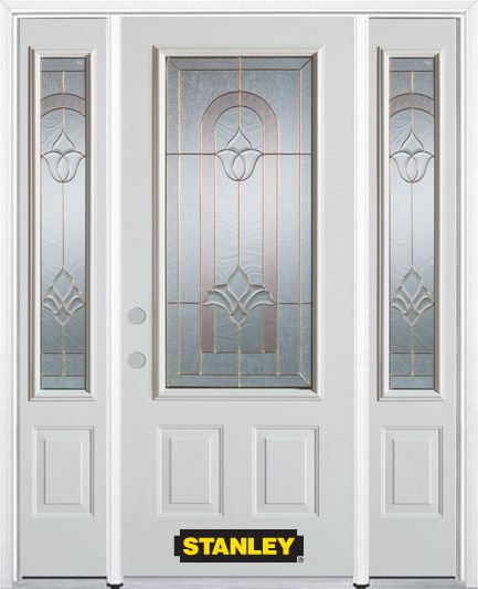 68-inch x 82-inch Marilyn 3/4-Lite 2-Panel White Steel Entry Door with Sidelites and Brickmould