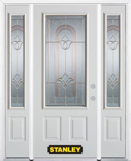 Porte dentrée en acier préfini en blanc, munie de deux panneaux et dun 3/4 verre, 68 po x 82 po a...