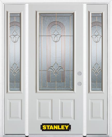 66-inch x 82-inch Marilyn 3/4-Lite 2-Panel White Steel Entry Door with Sidelites and Brickmould