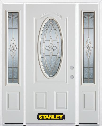 Porte dentrée en acier préfini en blanc, munie dun 3/4 verre ovale, 64 po x 82 po avec panneaux l...