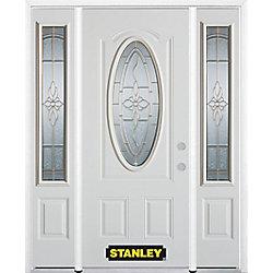 Stanley Doors Porte dentrée en acier préfini en blanc, munie dun 3/4 verre ovale, 64 po x 82 po avec panneaux latéraux et moulure de brique