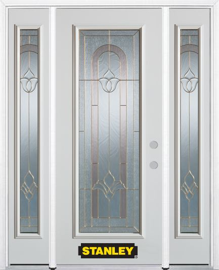 68-inch x 82-inch Marilyn Full Lite Finished White Steel Entry Door with Sidelites and Brickmould