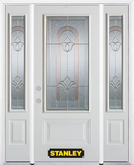64-inch x 82-inch Marilyn 3/4-Lite 2-Panel White Steel Entry Door with Sidelites and Brickmould