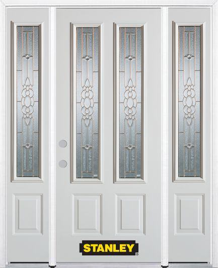 66-inch x 82-inch Victoria 2-Lite 2-Panel White Steel Entry Door with Sidelites and Brickmould