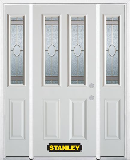 66-inch x 82-inch Rochelle 2-Lite 2-Panel White Steel Entry Door with Sidelites and Brickmould