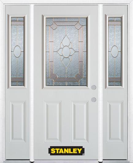 Porte dentrée en acier préfini en blanc, munie de deux panneaux et dun 1/2 verre, 64 po x 82 po a...