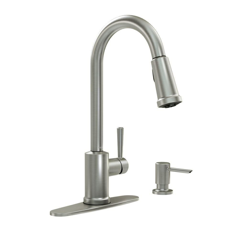 Indi 1 Handle Pulldown Kitchen Faucet with Microban and Soap - Spot Resist Stainless Finish 87090MSRS Canada Discount