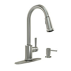 Indi Pulldown Kitchen Faucet with Microban and Soap Dispenser in Spot Resist Stainless Finish