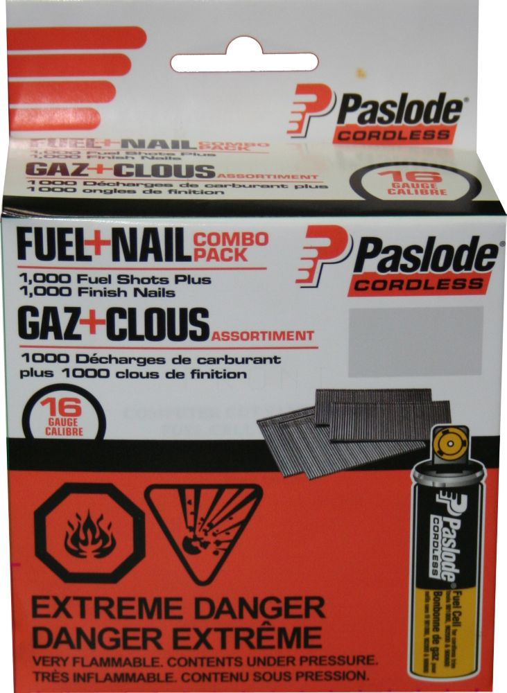 """FINISH FUEL+NAIL COMBO PACK (1000 - 1-1/2"""" 16G FINISH NAILS + 1 SHORT YELLOW FUEL CELL)"""