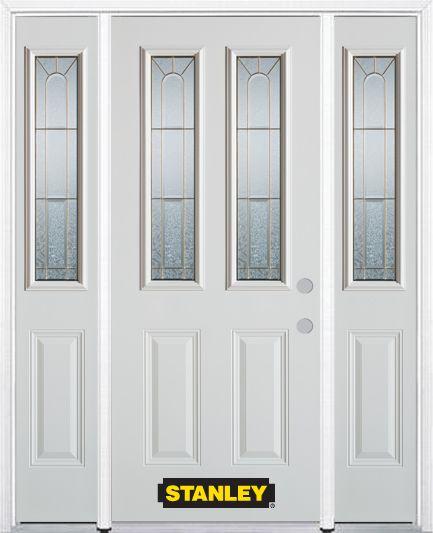 Porte dentrée en acier préfini en blanc, munie de deux panneaux et de deux verre, 68 po x 82 po a...