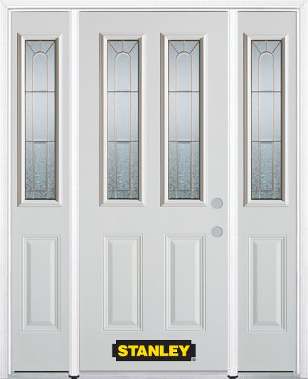 68-inch x 82-inch Elisabeth 2-Lite 2-Panel White Steel Entry Door with Sidelites and Brickmould