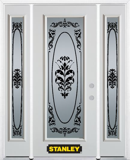 64-inch x 82-inch Renoir Full Lite Finished White Steel Entry Door with Sidelites and Brickmould