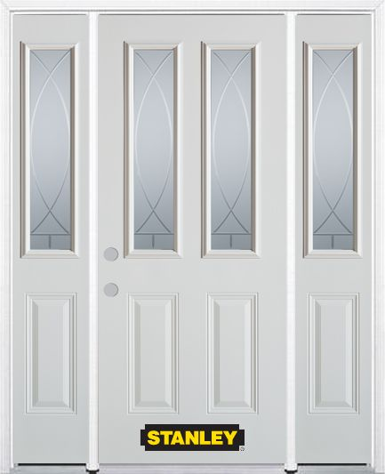 64-inch x 82-inch Bourgogne 2-Lite 2-Panel White Steel Entry Door with Sidelites and Brickmould