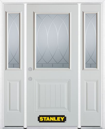 68-inch x 82-inch Bourgogne 1/2-Lite 1-Panel White Steel Entry Door with Sidelites and Brickmould
