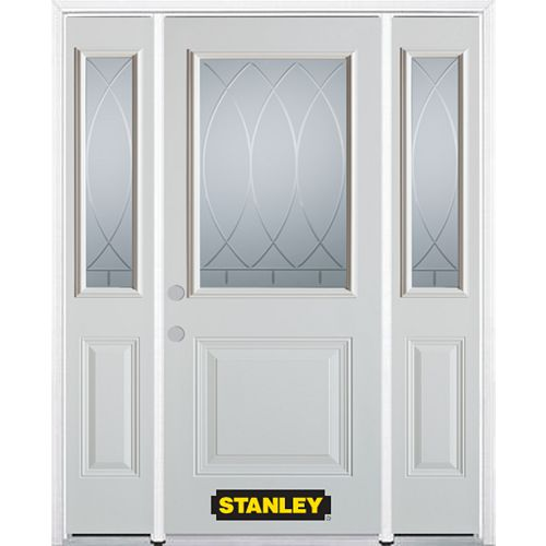 STANLEY Doors 68.5 inch x 82.375 inch Bourgogne 1/2 Lite 1-Panel Prefinished White Right-Hand Inswing Steel Prehung Front Door with Sidelites and Brickmould